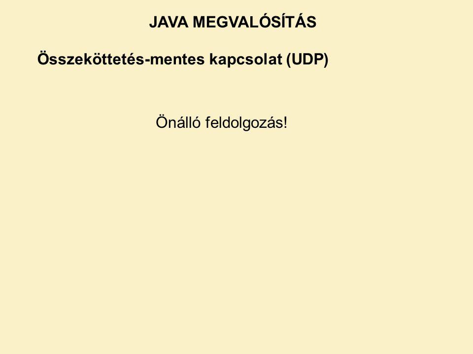 JAVA MEGVALÓSÍTÁS Összeköttetés-mentes kapcsolat (UDP) Önálló feldolgozás!