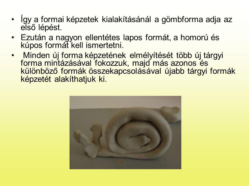 Így a formai képzetek kialakításánál a gömbforma adja az első lépést.