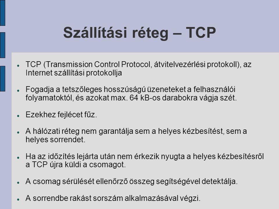 Szállítási réteg – TCP TCP (Transmission Control Protocol, átvitelvezérlési protokoll), az Internet szállítási protokollja.