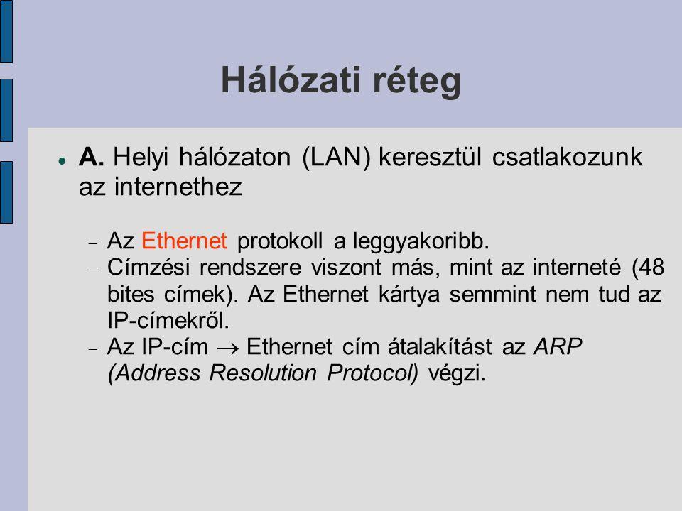 Hálózati réteg A. Helyi hálózaton (LAN) keresztül csatlakozunk az internethez. Az Ethernet protokoll a leggyakoribb.