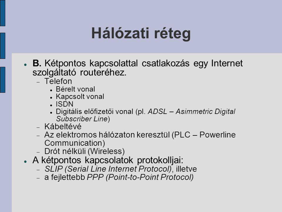 Hálózati réteg B. Kétpontos kapcsolattal csatlakozás egy Internet szolgáltató routeréhez. Telefon.