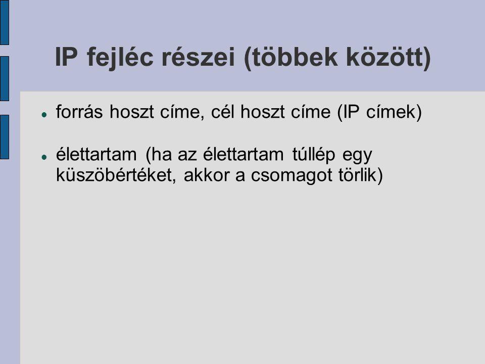 IP fejléc részei (többek között)