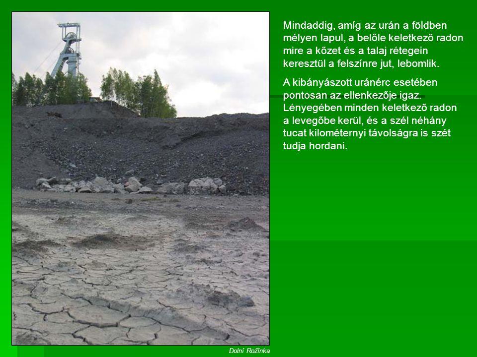 Mindaddig, amíg az urán a földben mélyen lapul, a belőle keletkező radon mire a kőzet és a talaj rétegein keresztül a felszínre jut, lebomlik.