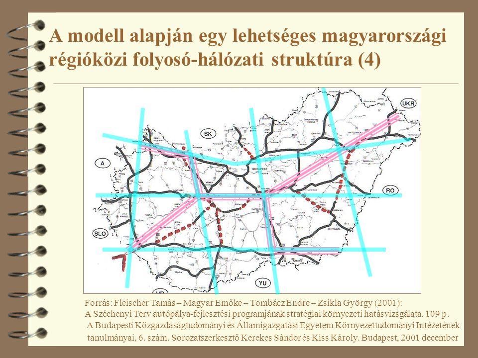 A modell alapján egy lehetséges magyarországi régióközi folyosó-hálózati struktúra (4)