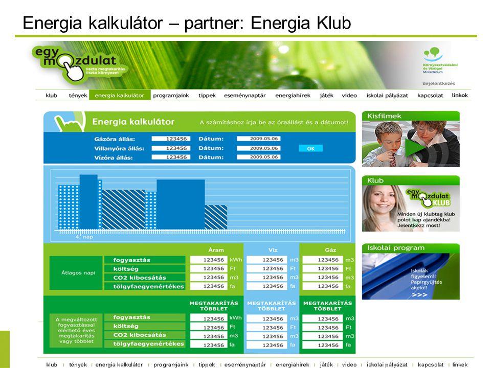 Energia kalkulátor – partner: Energia Klub