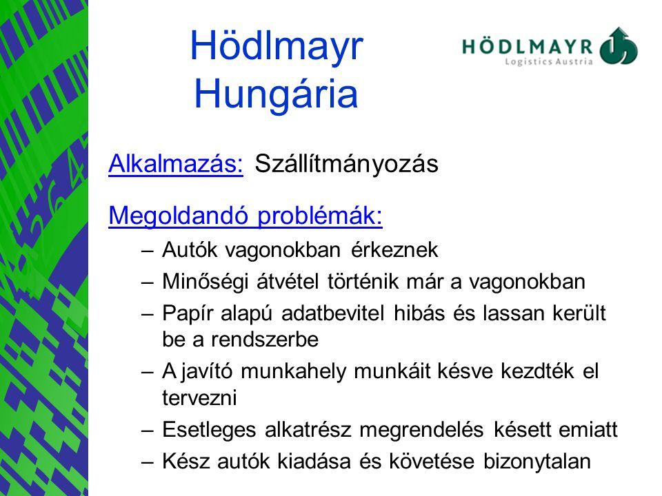 Hödlmayr Hungária Alkalmazás: Szállítmányozás Megoldandó problémák: