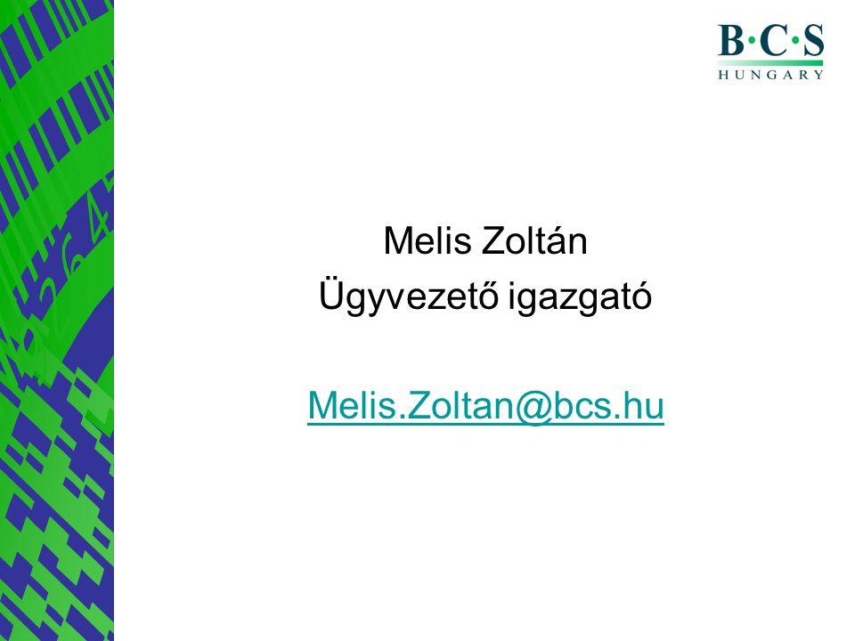 Melis Zoltán Ügyvezető igazgató Melis.Zoltan@bcs.hu