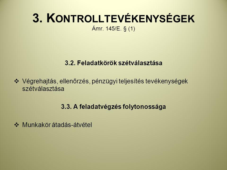 3. Kontrolltevékenységek Ámr. 145/E. § (1)