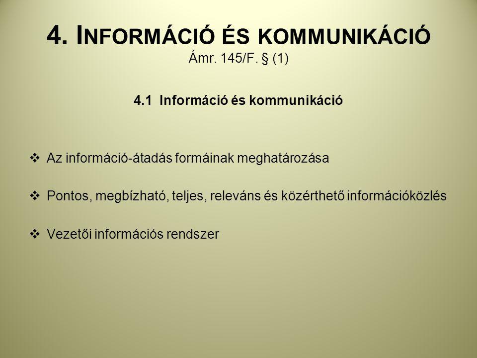 4. Információ és kommunikáció Ámr. 145/F. § (1)