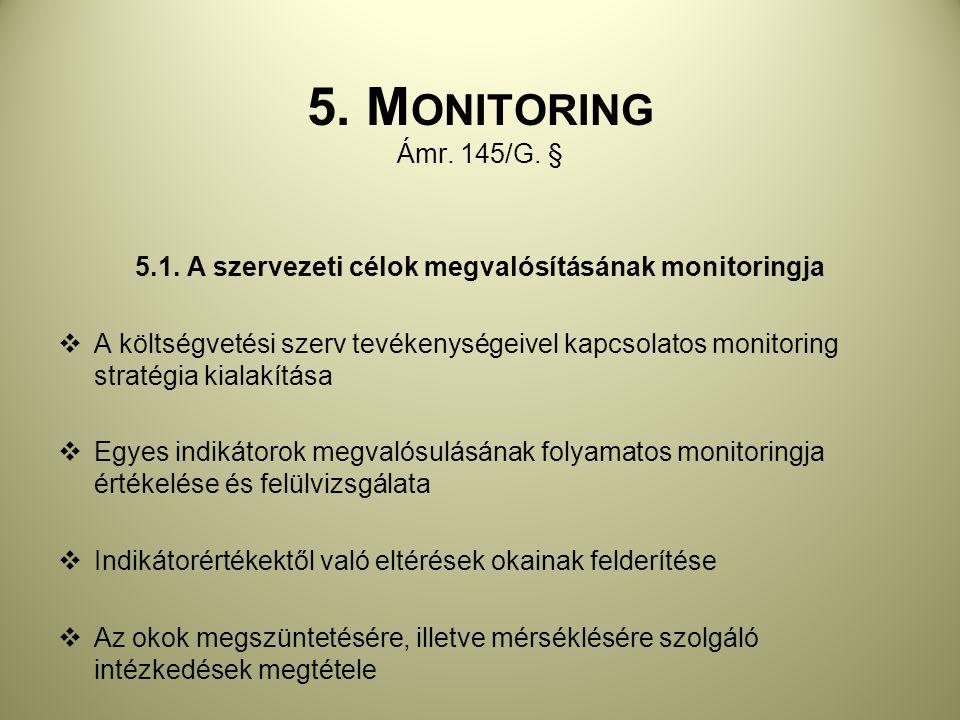 5.1. A szervezeti célok megvalósításának monitoringja