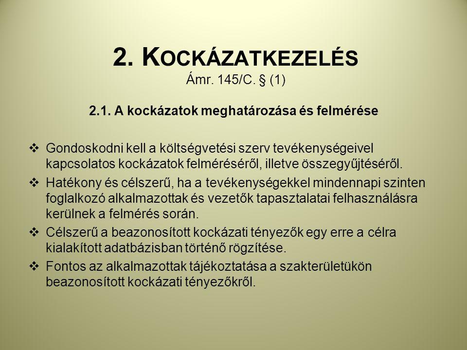 2. Kockázatkezelés Ámr. 145/C. § (1)