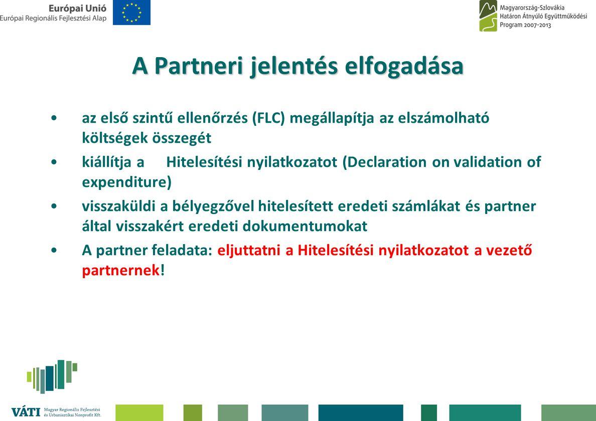 A Partneri jelentés elfogadása