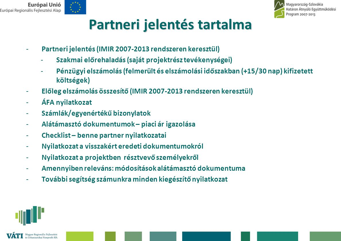 Partneri jelentés tartalma