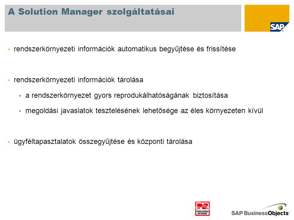 A Solution Manager szolgáltatásai