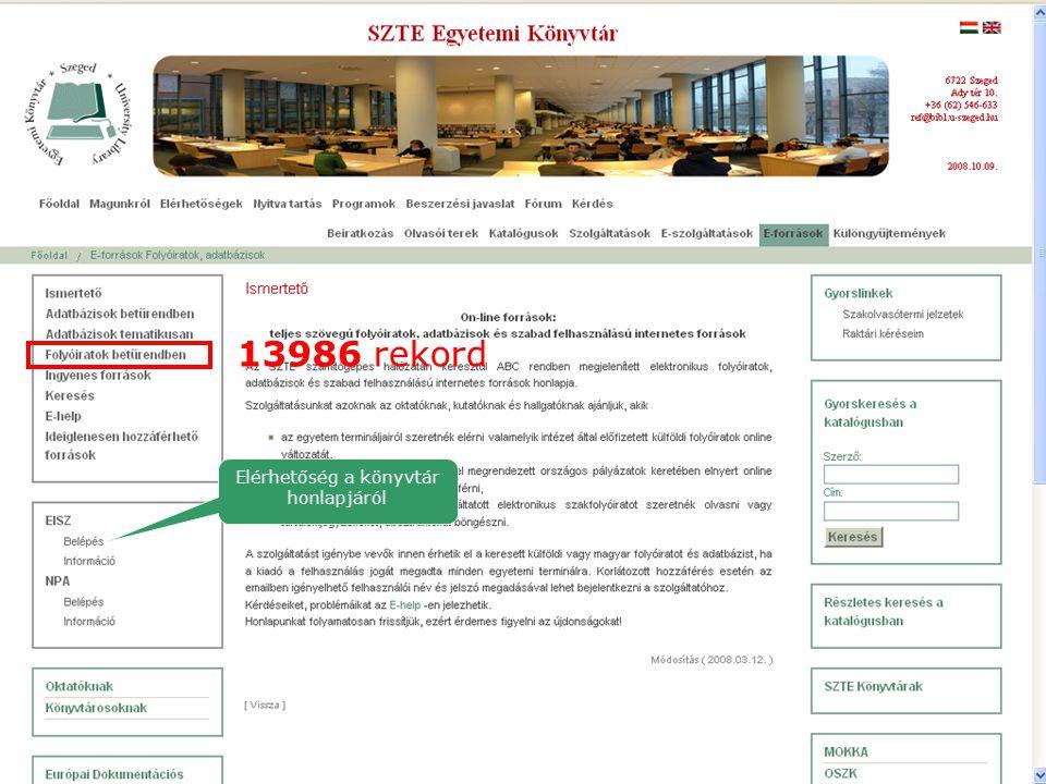 Elérhetőség a könyvtár honlapjáról