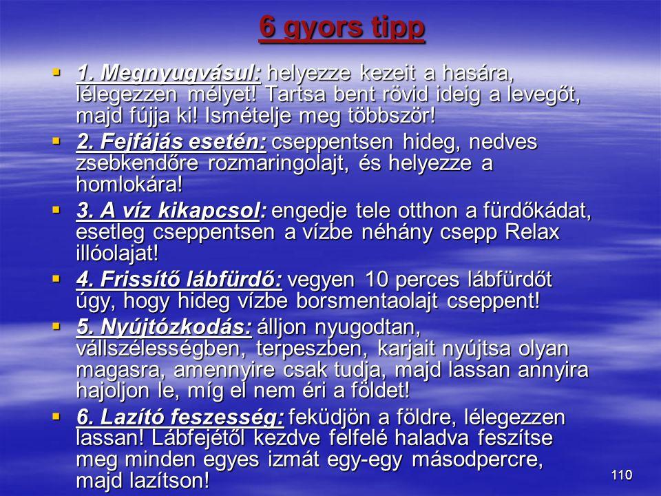 6 gyors tipp 1. Megnyugvásul: helyezze kezeit a hasára, lélegezzen mélyet! Tartsa bent rövid ideig a levegőt, majd fújja ki! Ismételje meg többször!