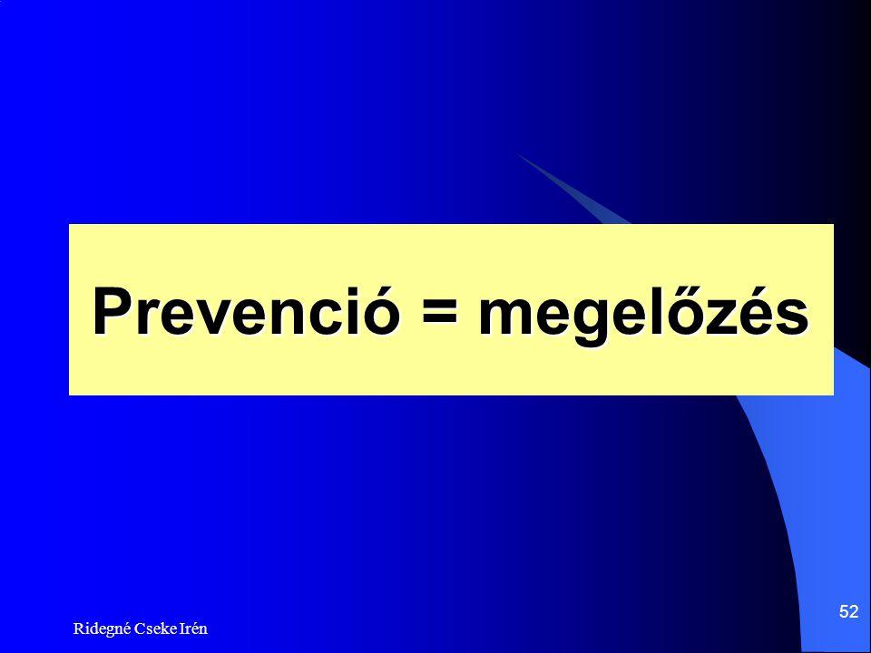 Prevenció = megelőzés Ridegné Cseke Irén