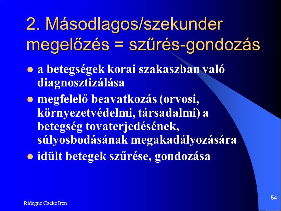 2. Másodlagos/szekunder megelőzés = szűrés-gondozás