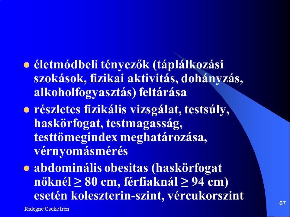 életmódbeli tényezők (táplálkozási szokások, fizikai aktivitás, dohányzás, alkoholfogyasztás) feltárása