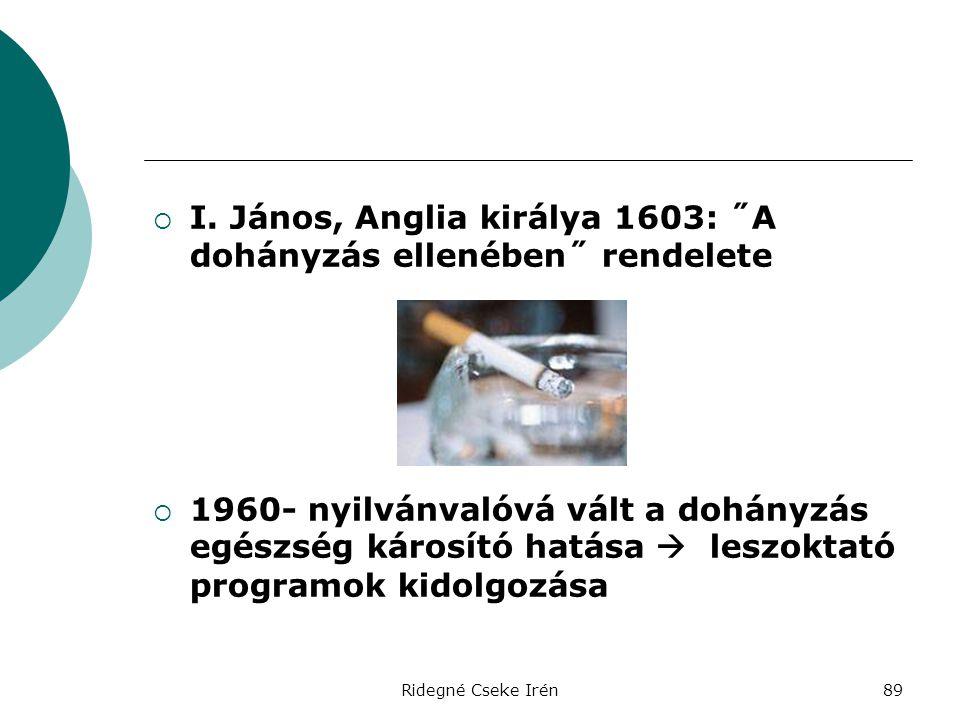 I. János, Anglia királya 1603: ˝A dohányzás ellenében˝ rendelete