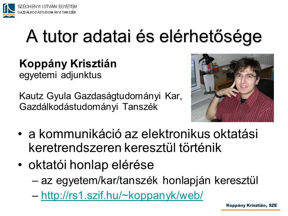 A tutor adatai és elérhetősége