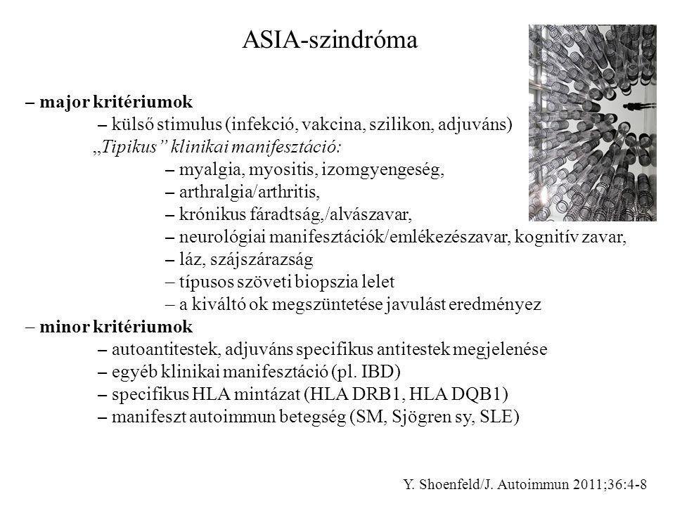 """ASIA-szindróma – major kritériumok. – külső stimulus (infekció, vakcina, szilikon, adjuváns) """"Tipikus klinikai manifesztáció:"""