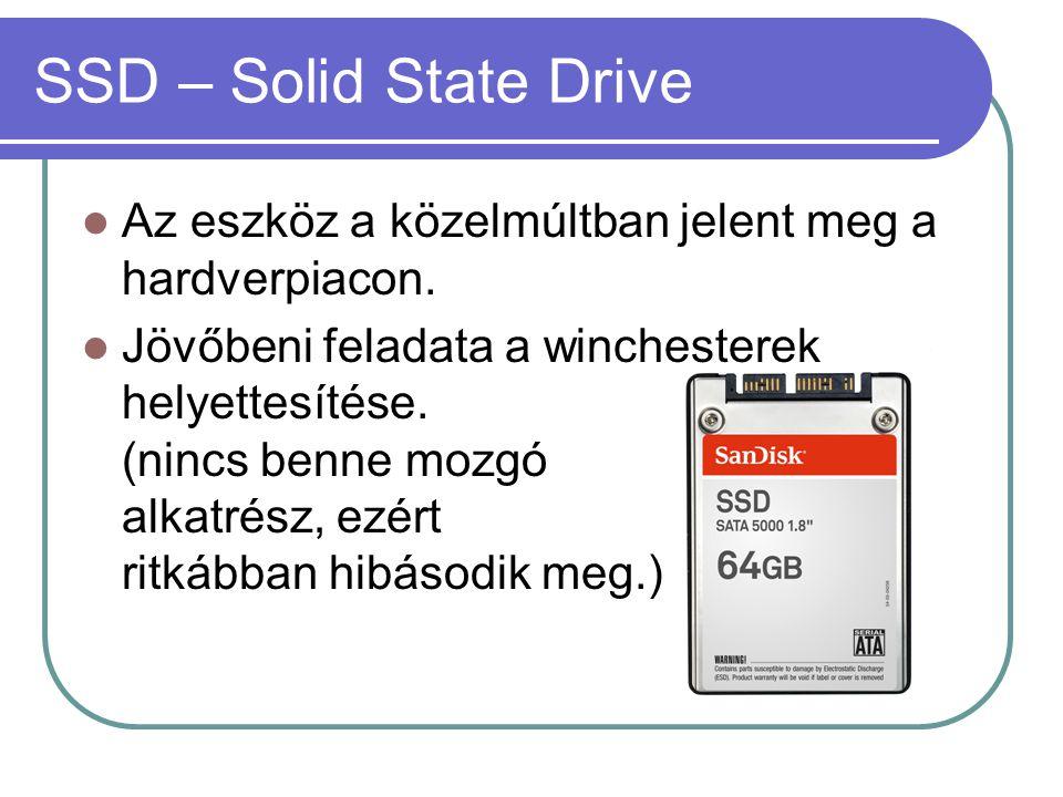 SSD – Solid State Drive Az eszköz a közelmúltban jelent meg a hardverpiacon.
