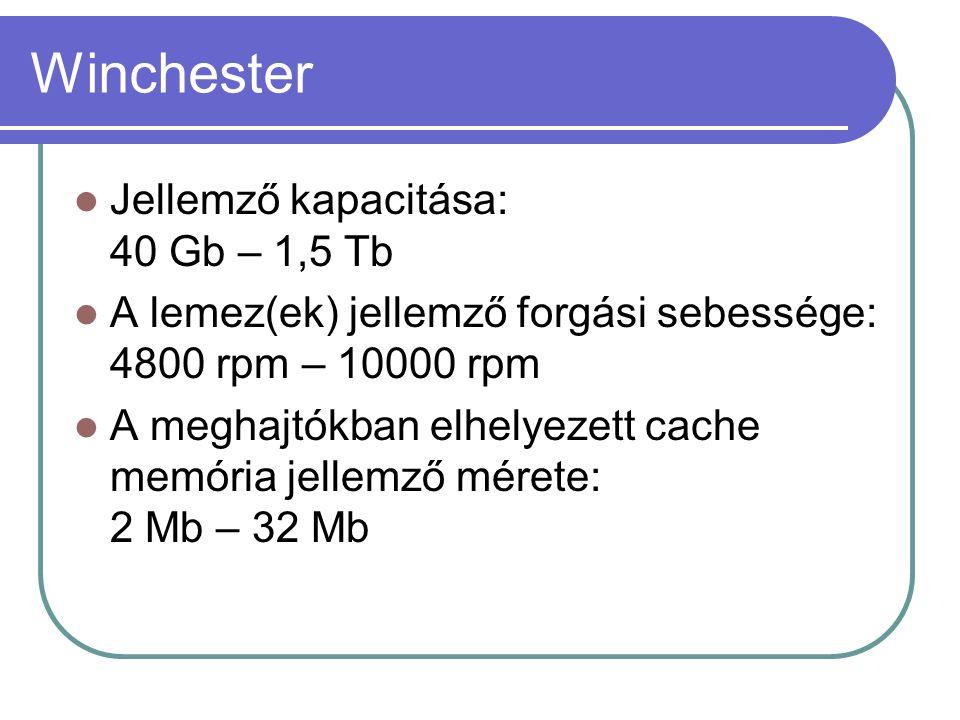 Winchester Jellemző kapacitása: 40 Gb – 1,5 Tb