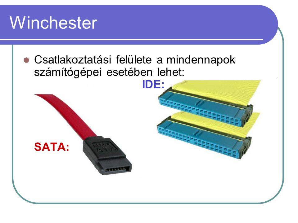 Winchester Csatlakoztatási felülete a mindennapok számítógépei esetében lehet: IDE: SATA: