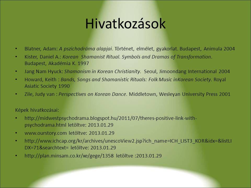 Hivatkozások Blatner, Adam: A pszichodráma alapjai. Történet, elmélet, gyakorlat. Budapest, Animula 2004.
