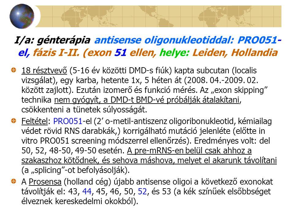 I/a: génterápia antisense oligonukleotiddal: PRO051-el, fázis I-II