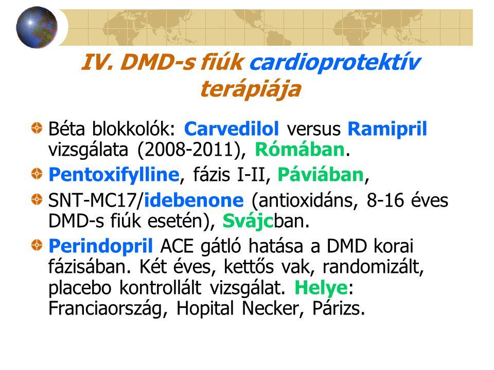 IV. DMD-s fiúk cardioprotektív terápiája