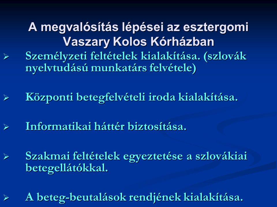 A megvalósítás lépései az esztergomi Vaszary Kolos Kórházban
