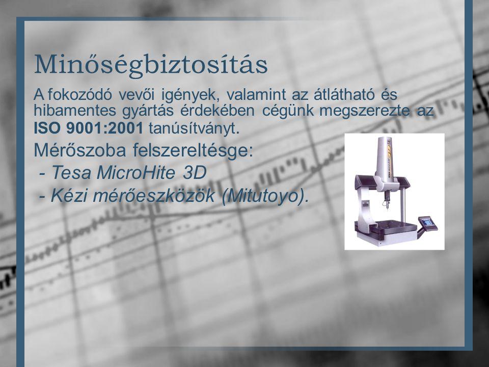 Minőségbiztosítás Mérőszoba felszereltésge: - Tesa MicroHite 3D