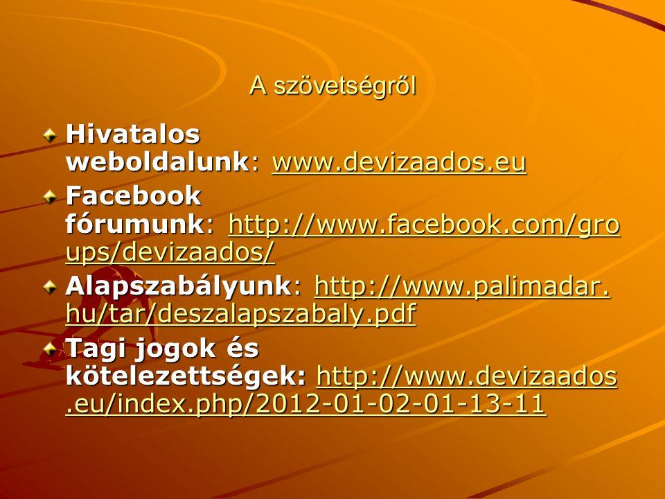 A szövetségről Hivatalos weboldalunk: www.devizaados.eu. Facebook fórumunk: http://www.facebook.com/groups/devizaados/