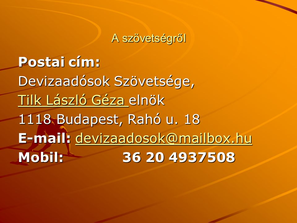 Devizaadósok Szövetsége, Tilk László Géza elnök