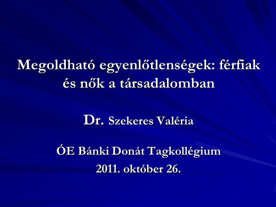Megoldható egyenlőtlenségek: férfiak és nők a társadalomban Dr
