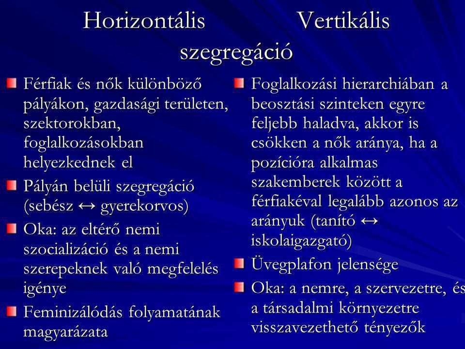 Horizontális Vertikális szegregáció