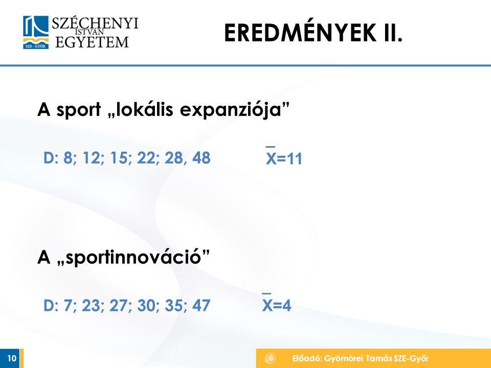 """EREDMÉNYEK II. A sport """"lokális expanziója A """"sportinnováció"""