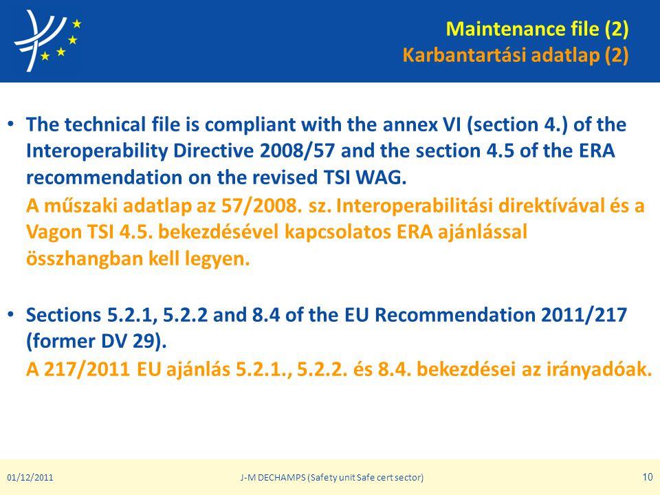 Maintenance file (2) Karbantartási adatlap (2)
