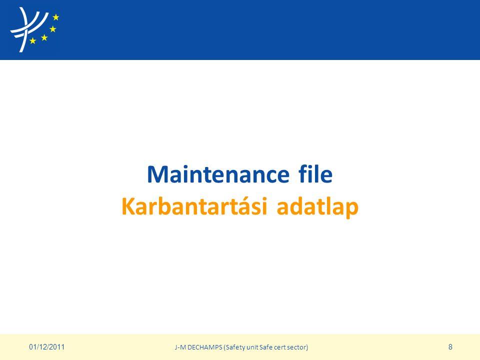 Karbantartási adatlap