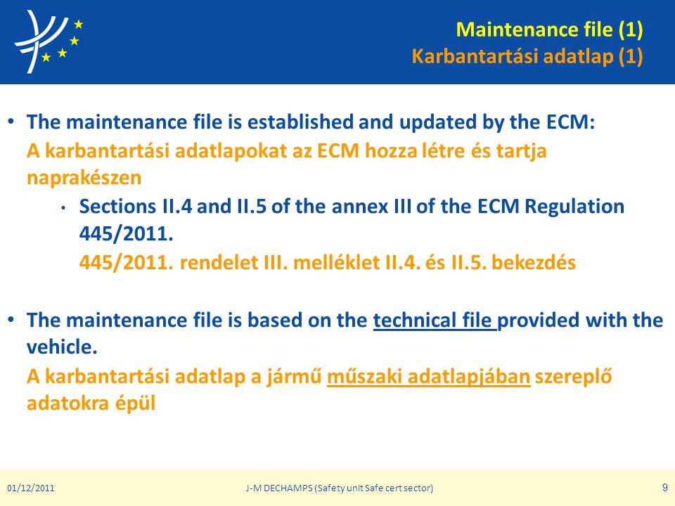 Maintenance file (1) Karbantartási adatlap (1)
