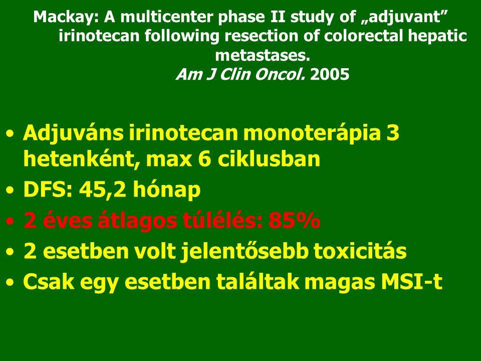 Adjuváns irinotecan monoterápia 3 hetenként, max 6 ciklusban