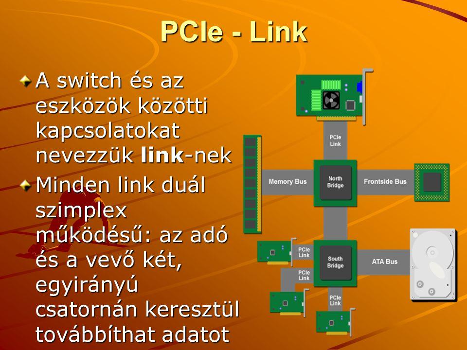 PCIe - Link A switch és az eszközök közötti kapcsolatokat nevezzük link-nek.