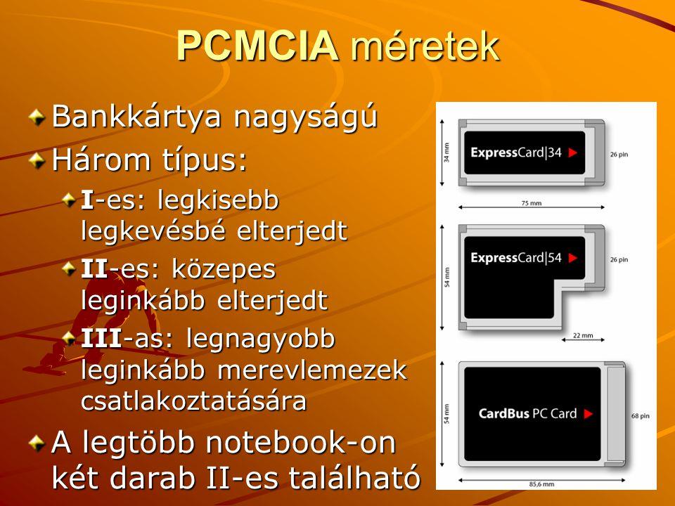 PCMCIA méretek Bankkártya nagyságú Három típus: