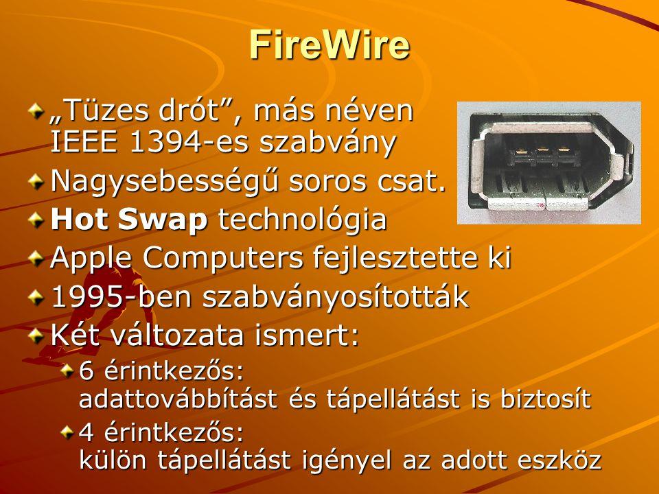 """FireWire """"Tüzes drót , más néven IEEE 1394-es szabvány"""