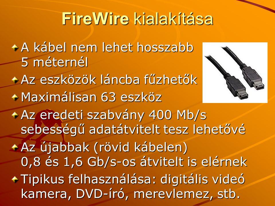 FireWire kialakítása A kábel nem lehet hosszabb 5 méternél