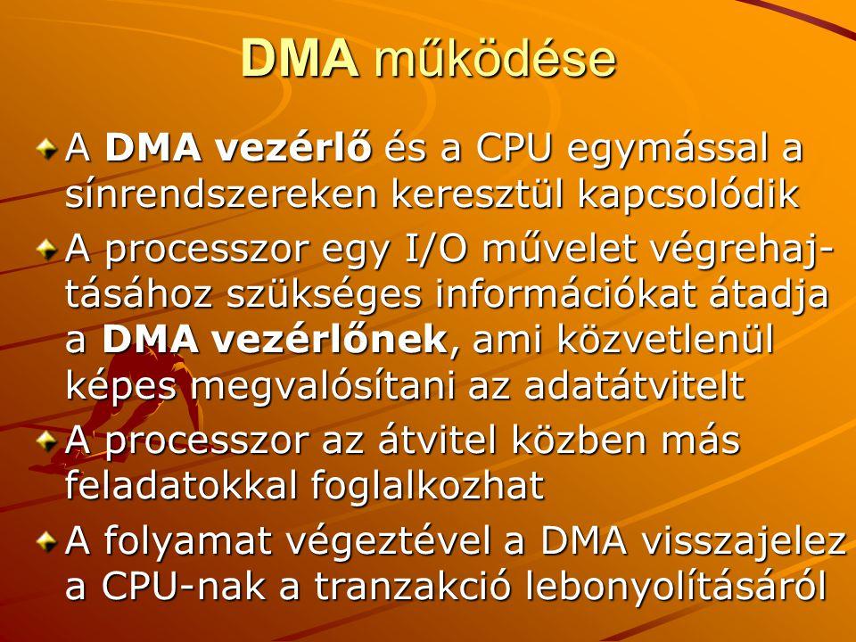 DMA működése A DMA vezérlő és a CPU egymással a sínrendszereken keresztül kapcsolódik.