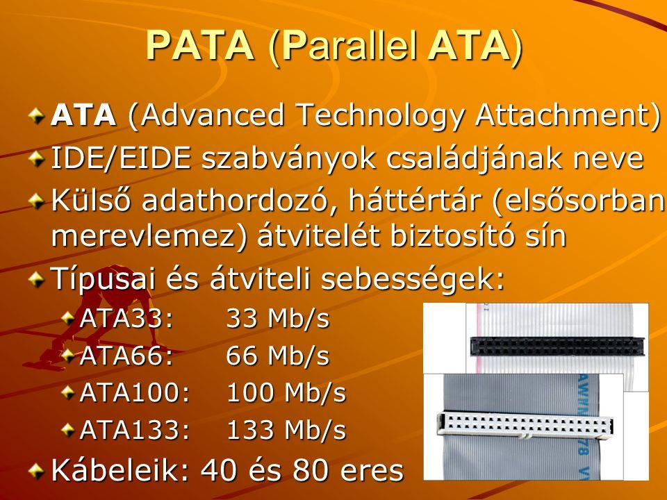 PATA (Parallel ATA) ATA (Advanced Technology Attachment)