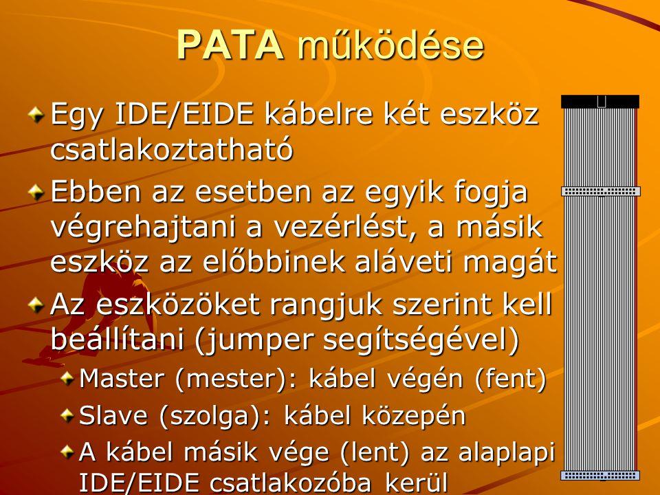 PATA működése Egy IDE/EIDE kábelre két eszköz csatlakoztatható